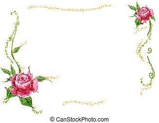 flor roja, y, vides