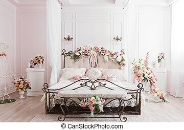 flor, room., primavera, decoration., cama, suave, ferro,...