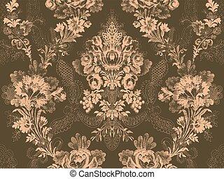 flor, rosa, abstratos, padrão, vitoriano, moda, floral, seamless