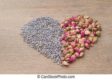 flor, rosa chá, brotos, e, lavanda, went, forma, de, coração