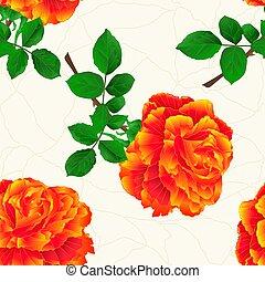 flor, rosa, seamless, textura, caule, vindima, laranja, vector.eps