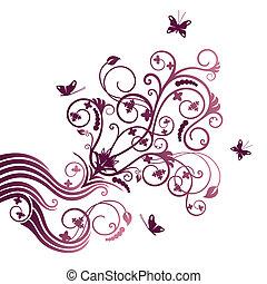 flor roxa, e, borboleta, ornate