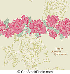 flor, -, seamless, mano, rosas, vector, plano de fondo, dibujado