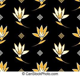 flor, seamless, patrón, con, blanco y amarillo, flores