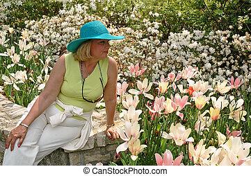 flor, senhora, jardim
