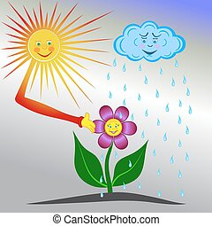 flor, ser, sol, regado, lluvia, mirado, nube, feliz