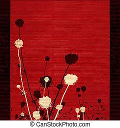 flor, silueta, en, rojo, con, frontera