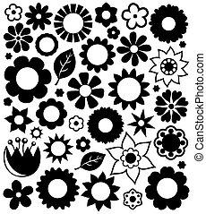 flor, siluetas, colección, 1