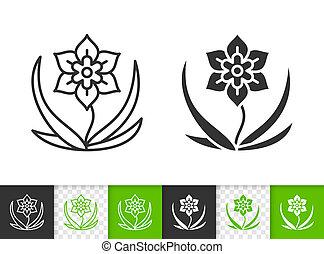 flor, simple, negro, línea, vector, icono
