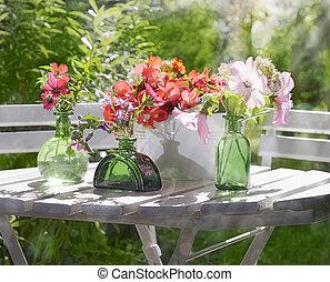 flor, soleado, jardín, arreglo