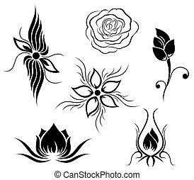 flor, tatuagem, padrão