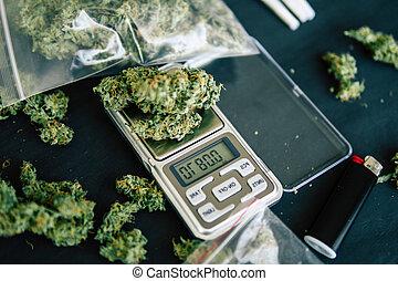 flor, topo, marijuana, pinho, cima, escuro, cannabis, cone, fundo, mãos, fim, vista, homem