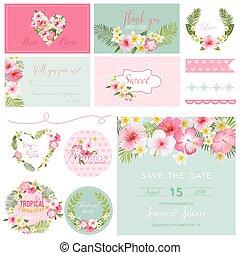 flor, -, tropicais, tema, vetorial, desenho, scrapbook, elementos