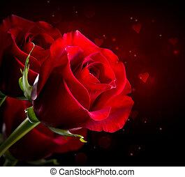 flor, valentine, rosa, st., isolado, black., dia, vermelho