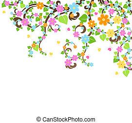 flor, vector, árbol