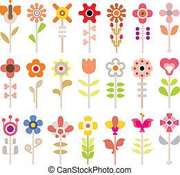 flor, vector, icono, conjunto