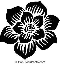 flor, vector, ilustración