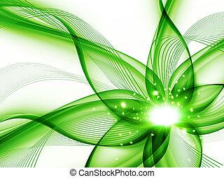 flor, verde