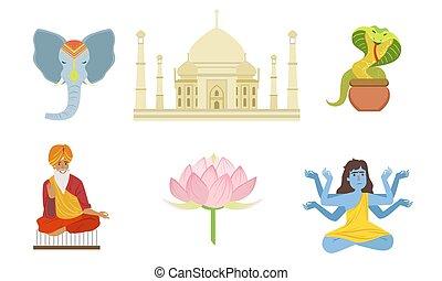 flor, vetorial, cobra, loto, indianas, shiva, jogo, taj,...