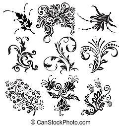 flor, vetorial, ornamento, silhuetas