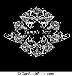 flor, vetorial, pretas, ornate, quad, branca