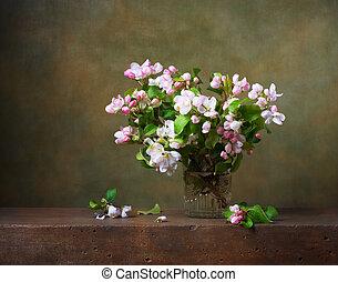 flor, vida, todavía, ramas, manzana