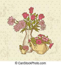 flor, vindima, -, mão, vetorial, desenhado, cartão