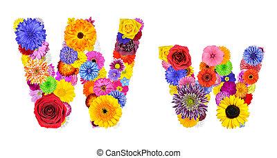 flor, w, alfabeto, -, isolado, letra, branca