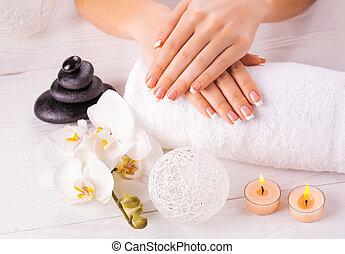 flor, wnite, manicure, francês, orquídea