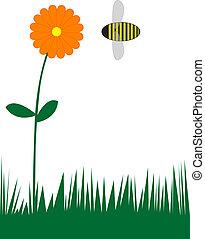 flor, y, abeja
