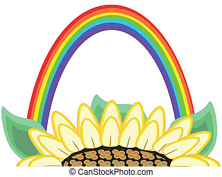 flor, y, arco irirs