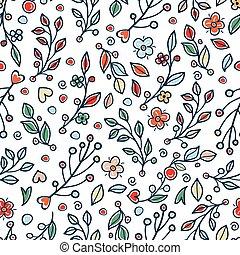 flor, y, grass., lindo, ramitas, con, leaves., seamless, patrón