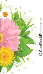 flor, y, hojas, con, pasto o césped