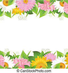 flor, y, hojas, frontera