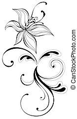 flor, y, vides, patrón