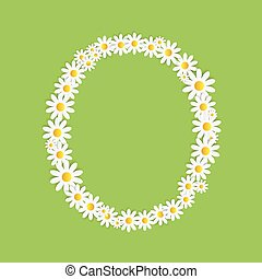 flora, alfabeto, vector, diseño, margarita, illustartion