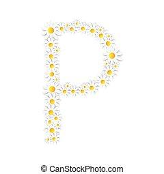 flora, alphabet, vektor, design, gänseblumen, illustartion