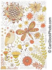 Flora and fauna doodles