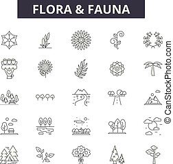 flora, contorno, fauna, set, icone, illustration:, vector., segni, fauna, linea, concetto