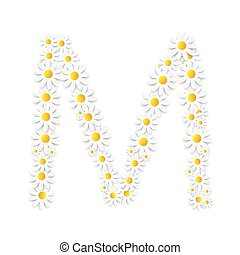 Flora Daisy Design Alphabet Vector Illustartion EPS10