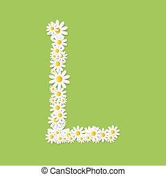 Flora Daisy Design Alphabet Vector Illustartion