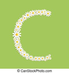 Flora Daisy Design Alphabet Vector Illustartion EPS10