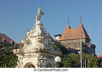 flora, fuente, y, edificio oriental, en, famoso, plaza, en,...