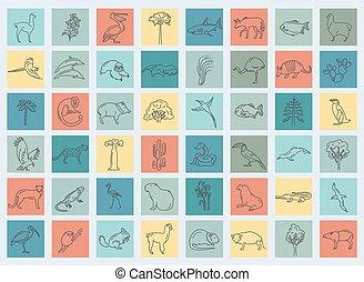 flora, linea, america, elements., appartamento, icona, fauna, set, vita, sud, uccelli, semplice, animali, mare