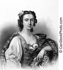 Flora Mac Donald (1722-1790) on engraving from the 1800s. ...