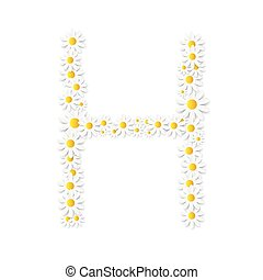 flora, margarida, desenho, alfabeto, vetorial, illustartion