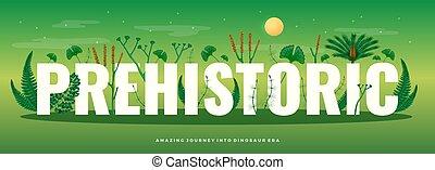 flora, preistorico, orizzontale, composizione