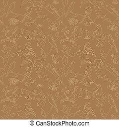 flora, rami, modello, -, seamless, vettore, rowan, fauna, bacche, uccelli