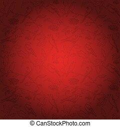 flora, rami, -, vettore, rowan, fondo, fauna, bacche, uccelli, rosso