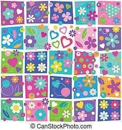 florais, coloridos, padrão